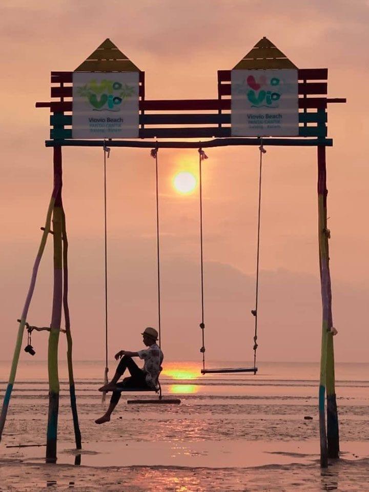 Swing in the Sea at Pantai Viovio